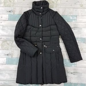 Betsey Johnson Black Down Puffer Trench Jacket